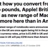 Apple fans delighted a new range of Mac laptops costs less here than in America