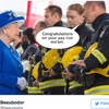 'Congratulations on your pay rise ma'am.' Firefighters salute Queen