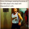 Conor McGregor wears the jersey of the NBA player who slept with Mayweather's wife