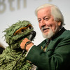 Caroll Spinney as Big Bird sings 'Bein' Green' at Jim Henson's funeral